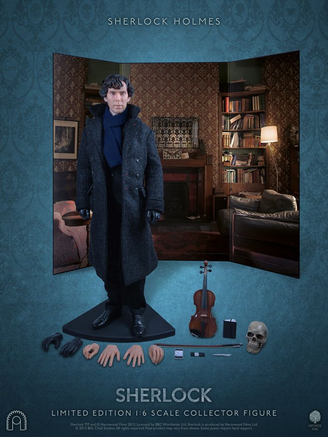 Sherlock Holmes collector's figure with four pairs of interchangeable hands