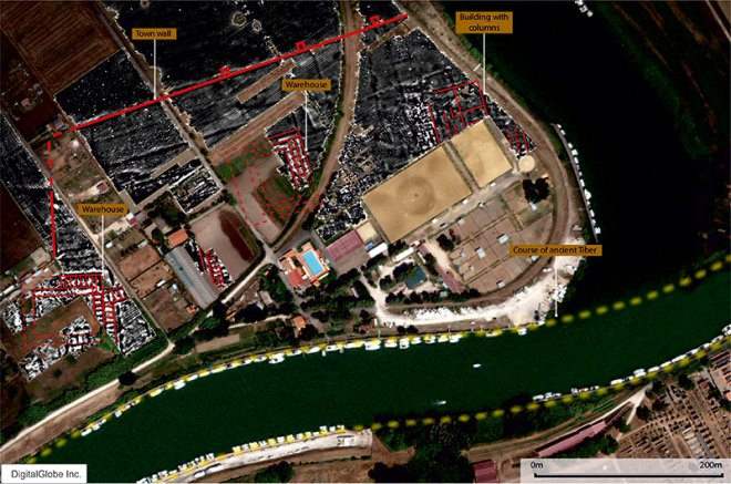 Aerial map of Ostia, showing where the buildings have been found