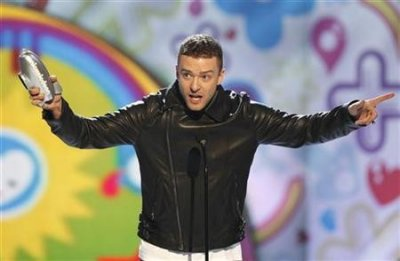 Justin Timberlake accepts the Big Help award at the 24th annual Nickelodeon Kids039 Choice Awards in Los Angeles