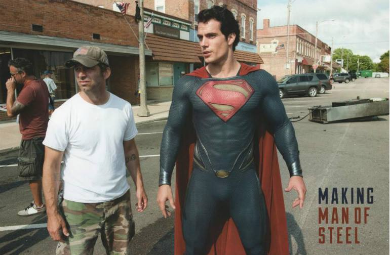 Director Zack Snyder with Henry Cavill during Man of Steel filming