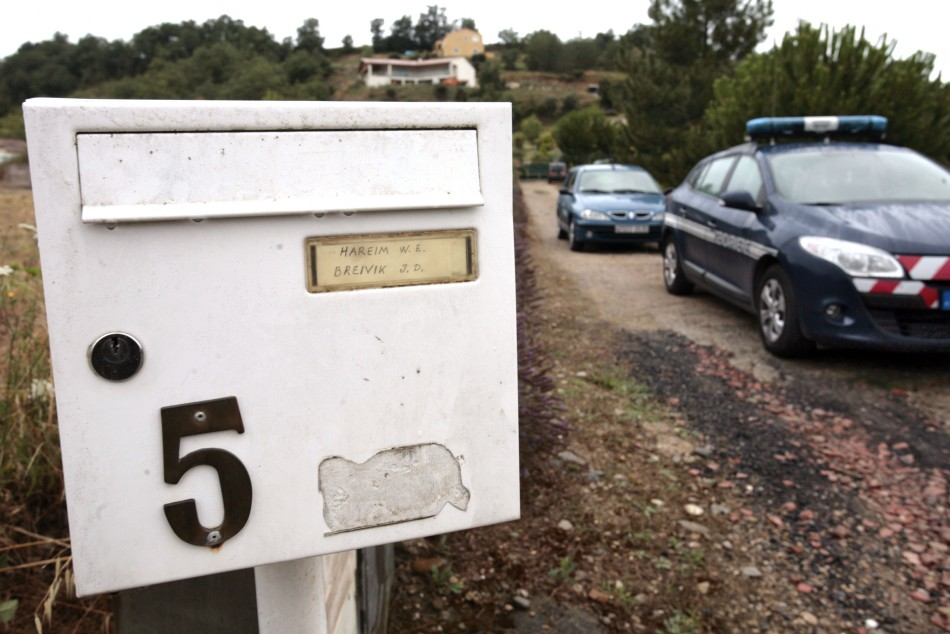 A car of French gendarmes is seen in front of the house of Jens Breivik, the father of Anders Behring Breivik in Cournanel