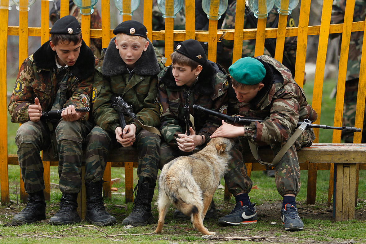 boys guns dog