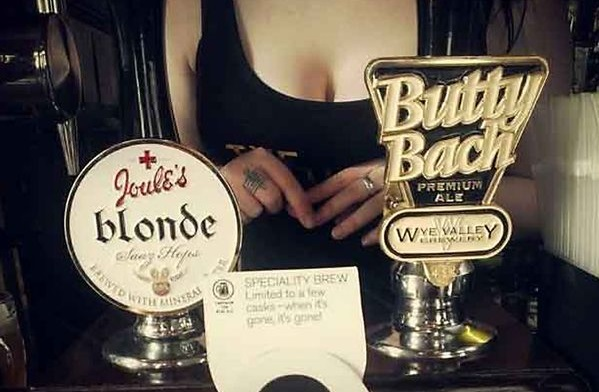 Barmaid cleavage to promote ales at The Victoria