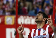 Atletico Madrid\'s Diego Costa celebrates his goal during their Spanish first division soccer match against Elche at Vicente Calderon stadium in Madrid April 18, 2014.