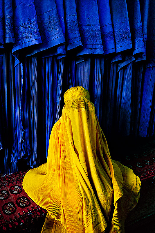 Woman in canary burqa, 2002