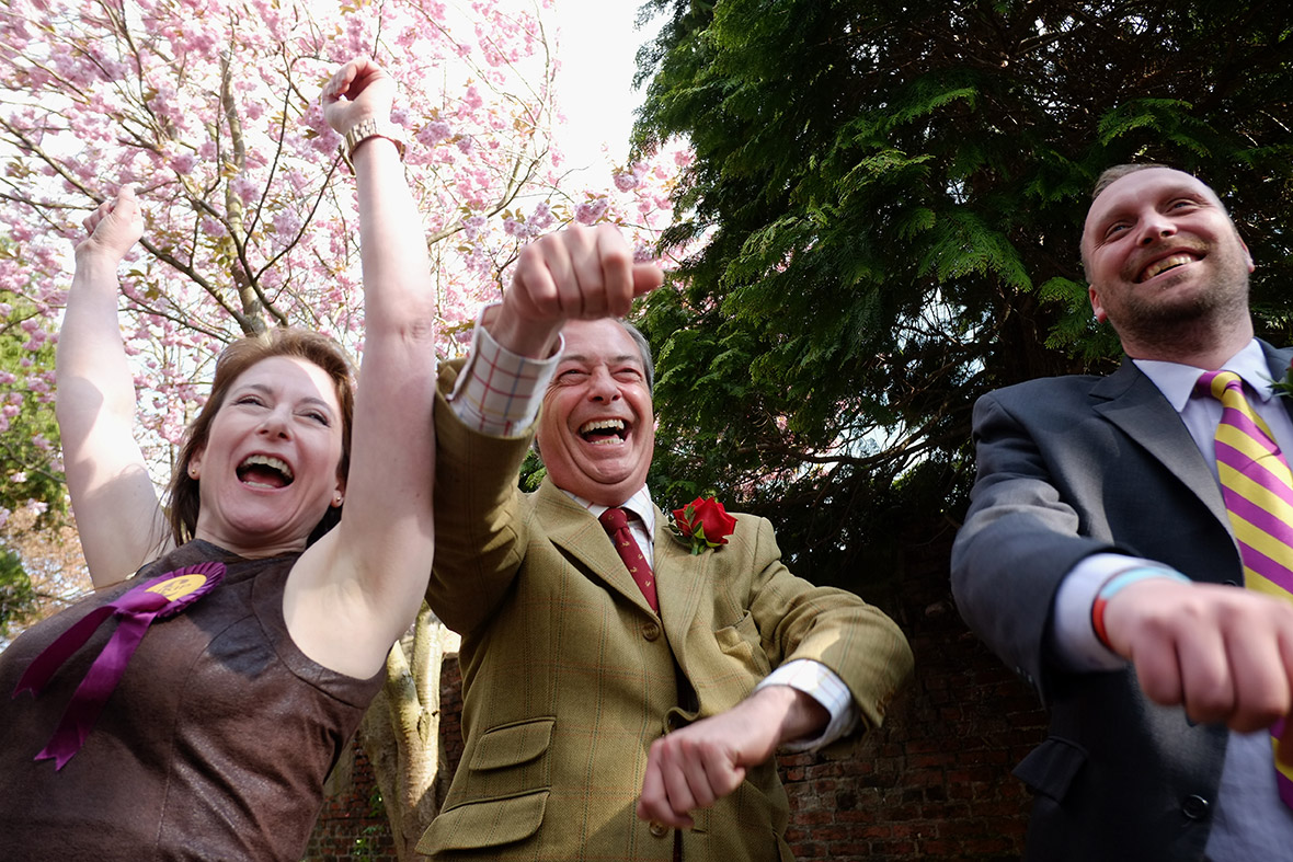 Movin' on up: Nigel Farage has taken Ukip in to a 11 point poll lead ahead of local and EU elections, next month