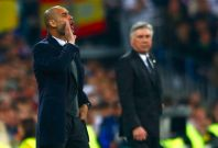 Bayern Munich\'s coach Josep Guardiola (L) reacts as Real Madrid\'s coach Carlo Ancelotti (R) looks on during their Champions League semi-final first leg soccer match at Santiago Bernabeu stadium in Madrid April 23, 2014.