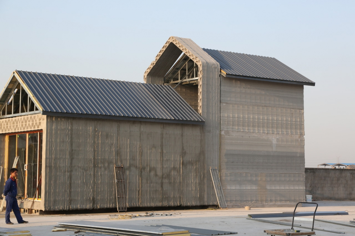 China recycled concrete houses 3d printed in 24 hours for Building a concrete house