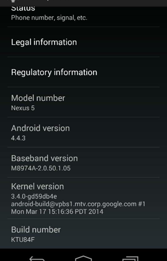 Nexus 5 Spotted Running Android 4.4.3 with Redesigned Dialer App [Screenshot]