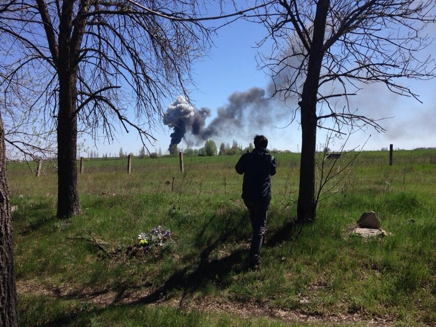 Picture of the explosion in Kramatorsk air base