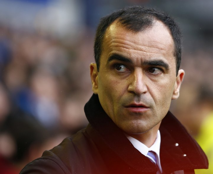Everton's manager Roberto Martinez reacts ahead of their English Premier League soccer match against Arsenal at Goodison Park in Liverpool, northern England, April 6, 2014.