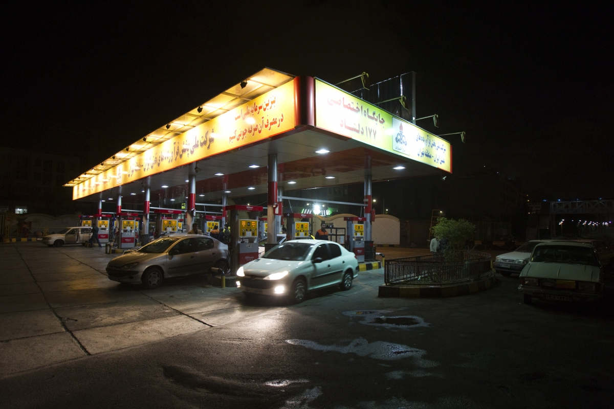 A general view shows a petrol station in northwestern Tehran