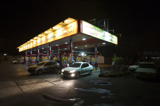 A general view shows a petrol station in northwestern Tehran