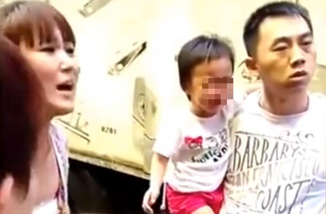 Toddler urinates Steet Hong Kong China