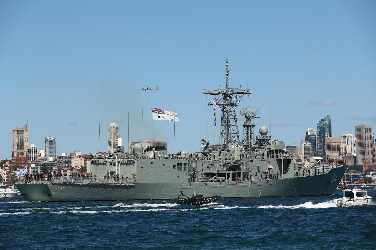 The HMAS Darwin in Sydney harbour.