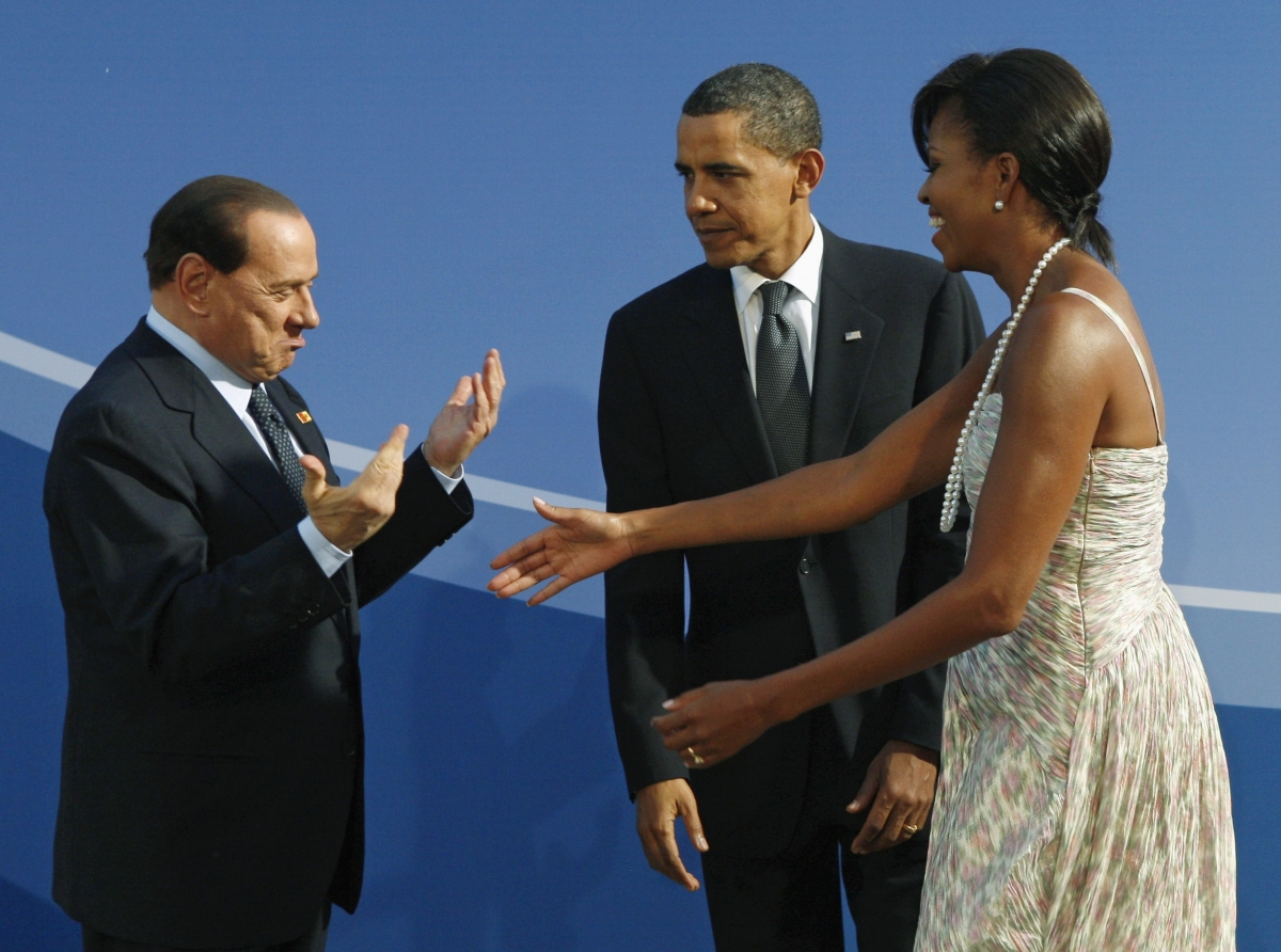 Berlusconi greets Michelle Obama during a meeting of the G20 in the US in 2009.