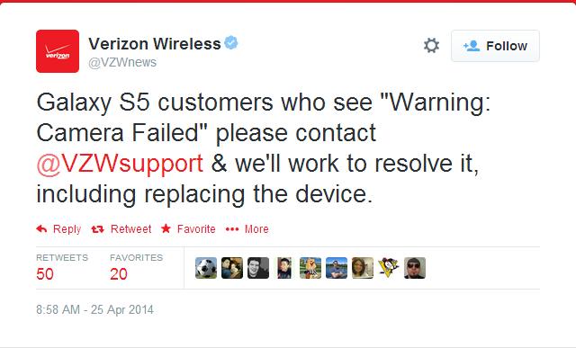 Samsung Galaxy S5, Reprises de Samsung Galaxy S5 à cause d'un bug photo