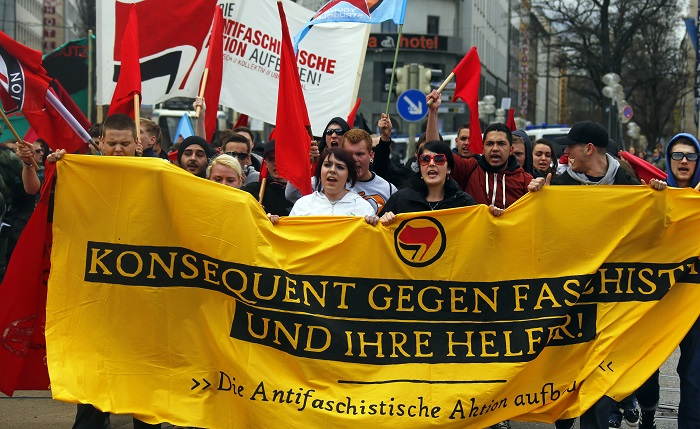 German protesters demonstrate against fascism and neo-Nazism.