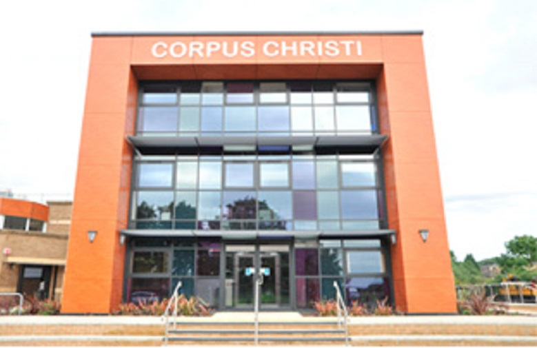 Corpus Christi Catholic College in Leeds where a female teacher was stabbed to death and a 15-year-old pupil arrested