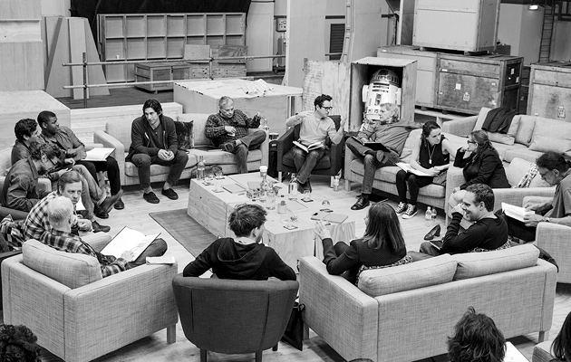 J.J. Abrams with Harrison Ford, Mark Hamill and others at the Star Wars session at Pinewood Studios in London
