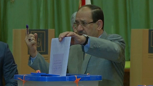 Maliki Casts Ballot As He Looks to Third Iraq PM Term