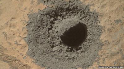 Mars drilling hole