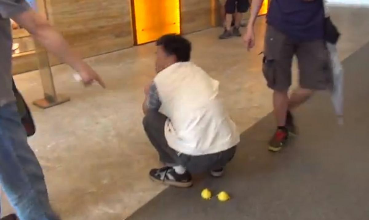 Mock Poo Protest Hong Kong China Toursits