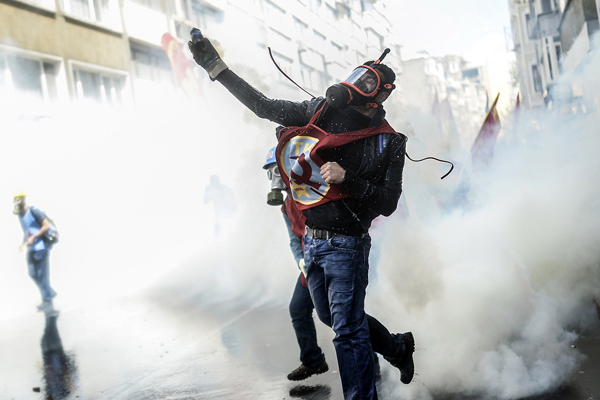 May Day 2014 In Turkey Riot Police Fire Tear Gas Near
