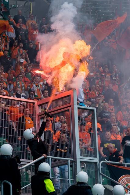 Polish football fan on fire