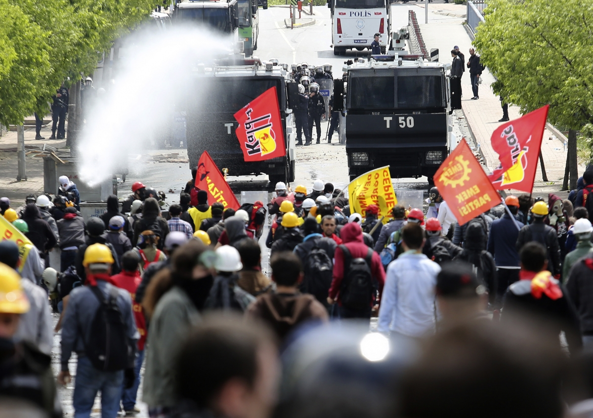 Riot police use water cannon to disperse protesters during a May Day demonstration in Istanbul