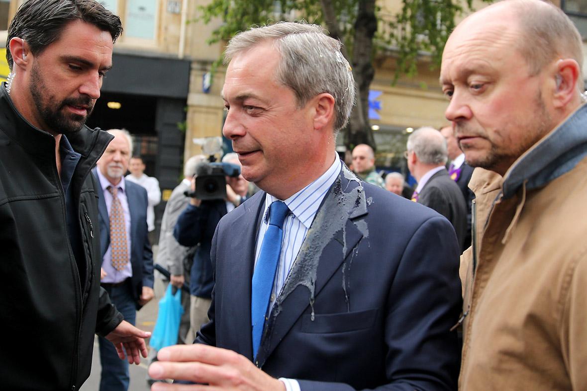 Nigel Farage egged