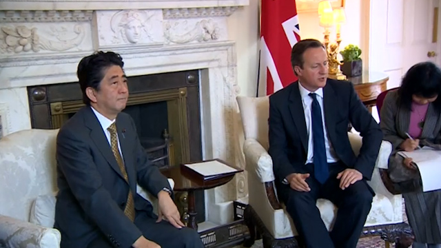 Japanese PM Abe Meets UK's Cameron in London
