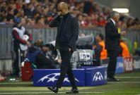 Bayern Munich\'s coach Josep Guardiola reacts during their Champion\'s League semi-final second leg soccer match against Real Madrid in Munich April 29, 2014.