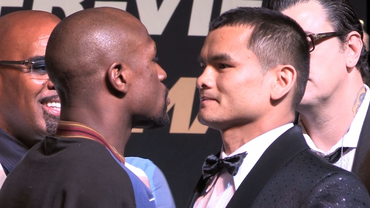 Floyd Maywather and Marcos Maidana Sqaure Up ahead of Fight