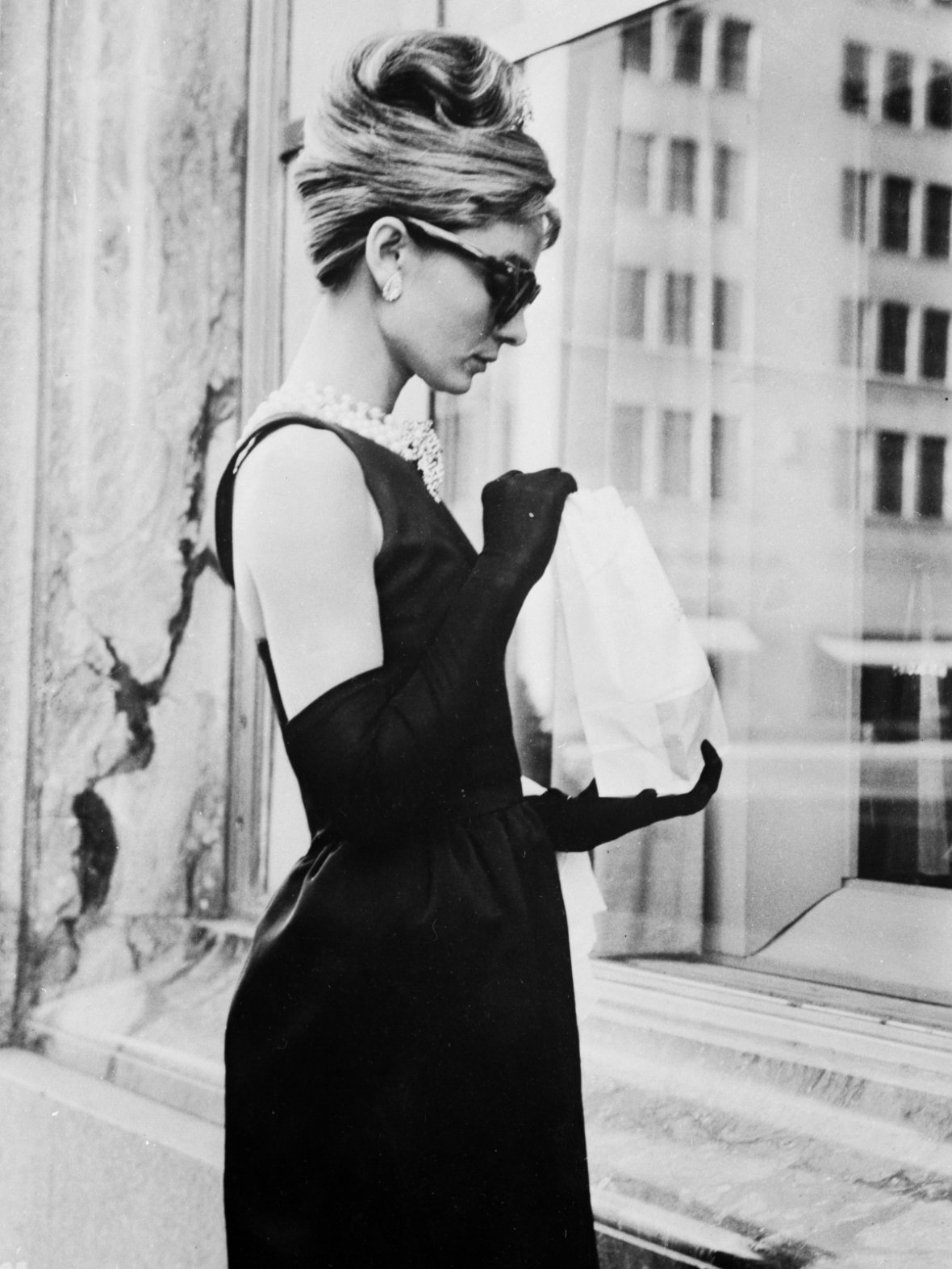 udrey Hepburn in New York during location filming for Breakfast At Tiffany\'s