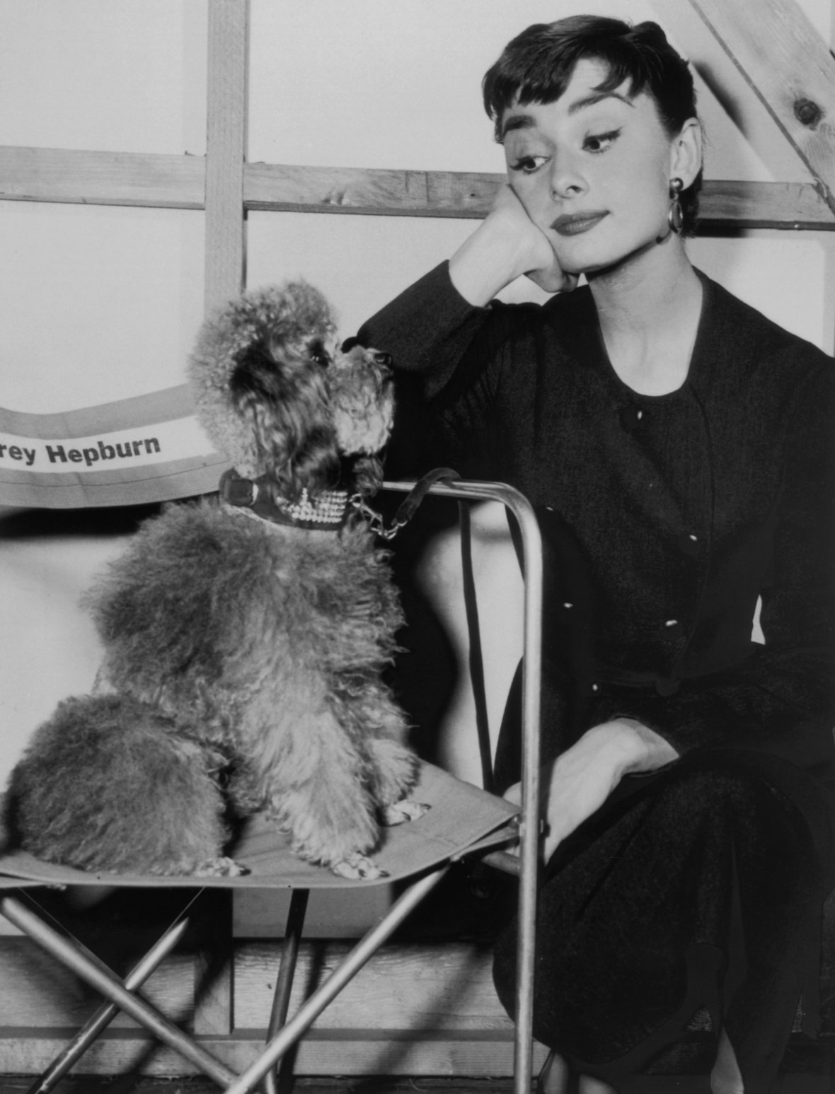 Audrey Hepburn on a film set with her pet poodle, circa 1960