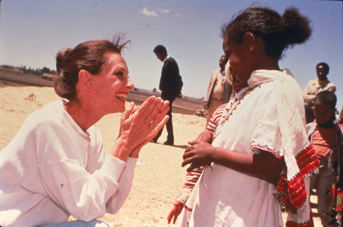 Audrey Hepburn in Ethiopia on her first field mission as goodwill ambassador to the United Nations Children's Fund (UNICEF) in 1988