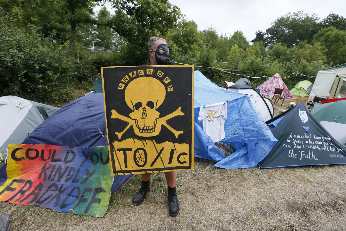 an anti-fracking protesters camp in Balcome, West Sussex (Reuters)