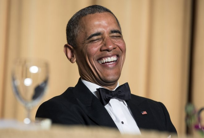Obama at the 2014 White House Correspondet's Association dinner last night.