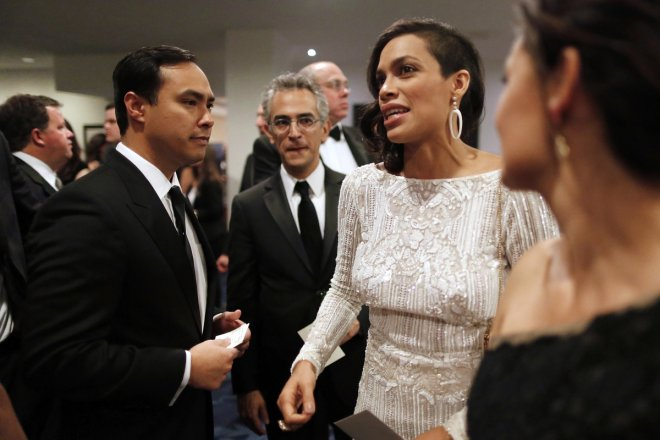 US representative Joaquin Castro and actress Rosario Dawson.