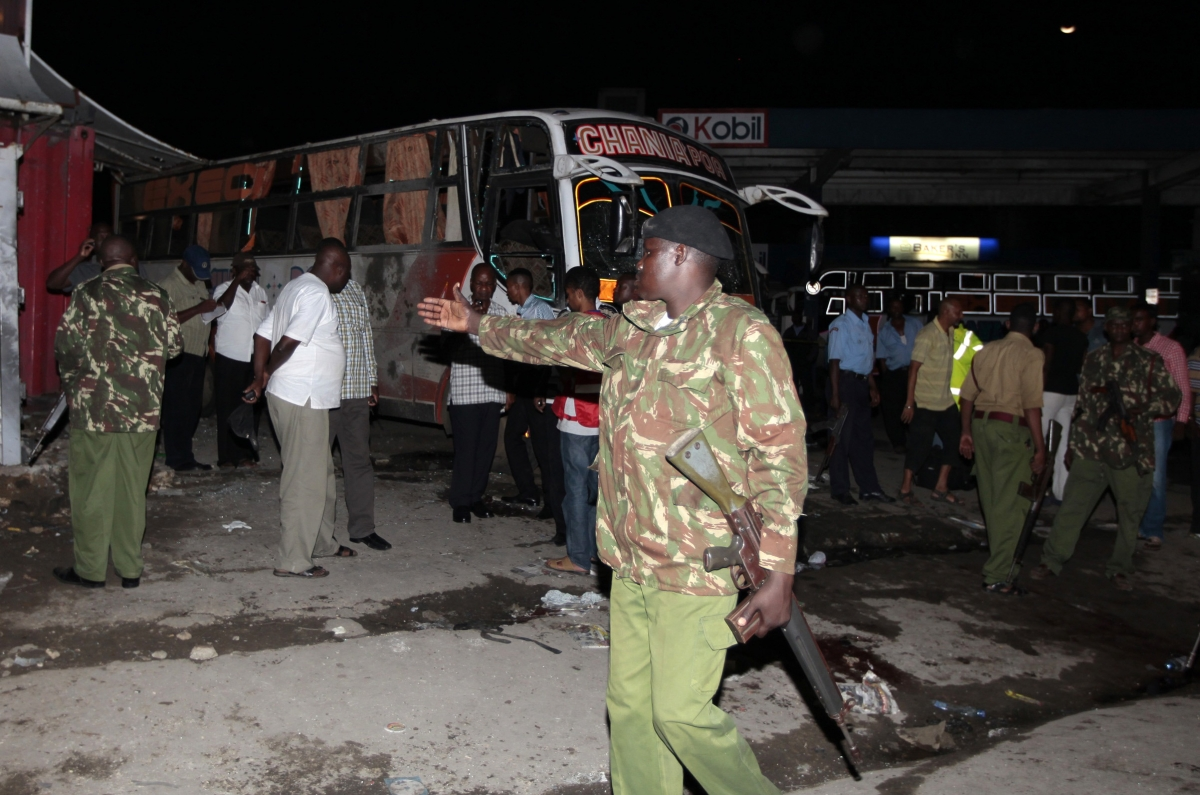 The aftermath of yesterday's grenade attack on a bus in Mombasa, Kenya.