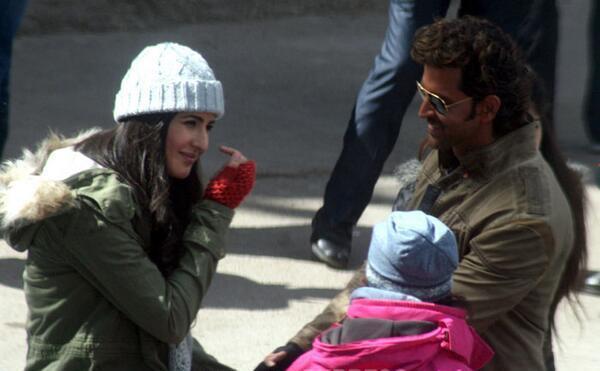 Katrina Kaif and Hrithik Roshan on the sets of their film, Bang Bang