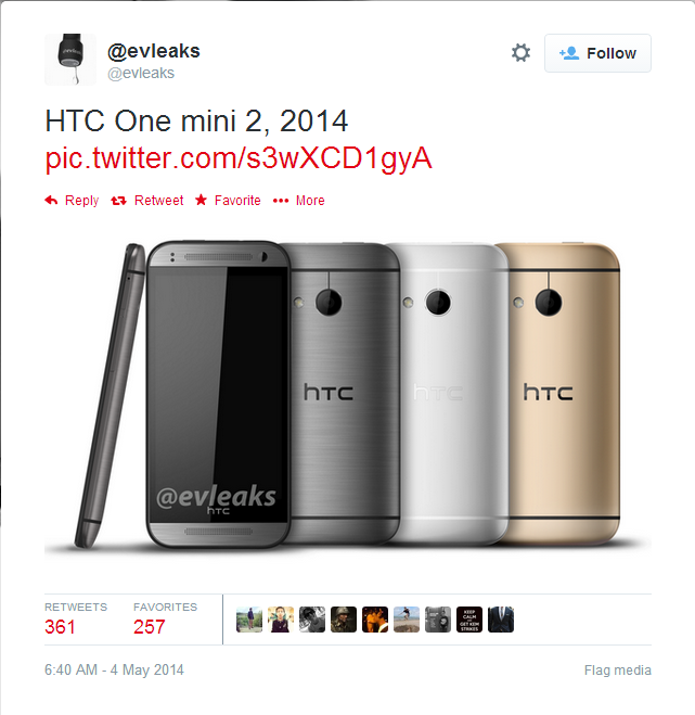 HTC One Mini 2 Leaked Photo Reveals Silver, Gold and Gunmetal Variants