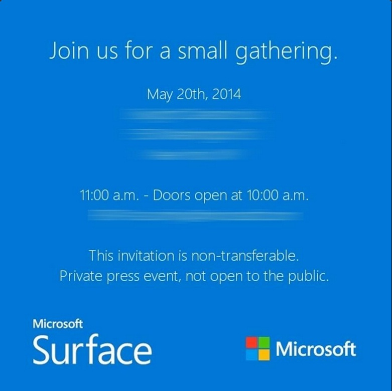 Microsoft Surface Event Invite 20 May