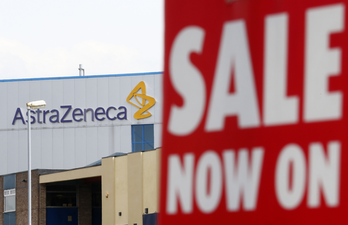 A sale sign hangs near an AstraZeneca site in Macclesfield