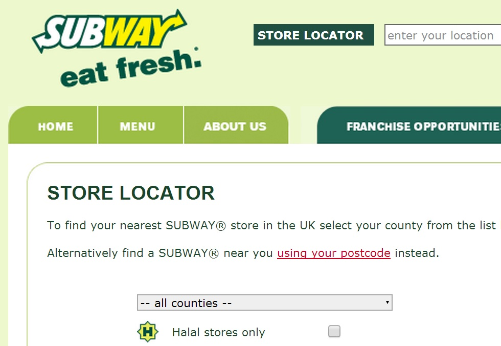 Subway has brought back Halal search option to its website