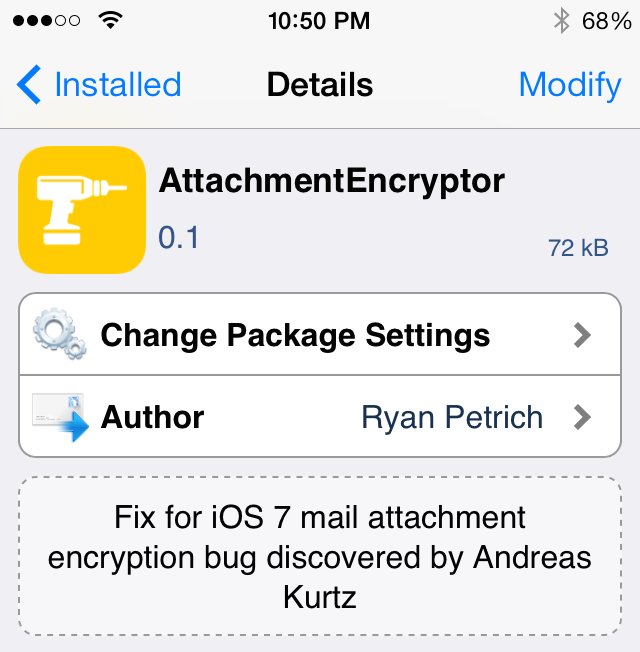 Ryan Petrich's New Jailbreak Tweak Patches iOS 7 Mail Encryption Bug