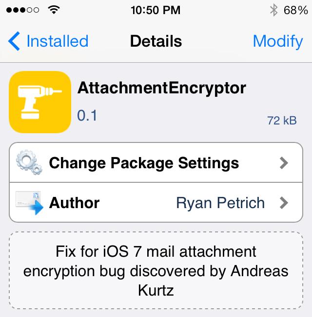 Ryan Petrich's New Jailbreak Tweak Patches iOS 7 Mail Encryption Bug