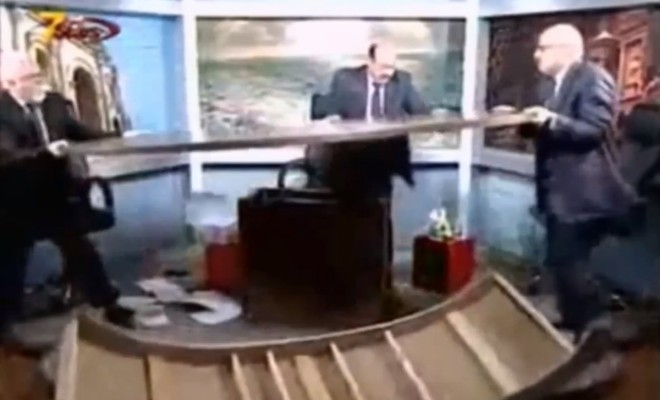 Journalists Wreck Jordanian TV's Debate Show Studio in Live Brawl over Syria