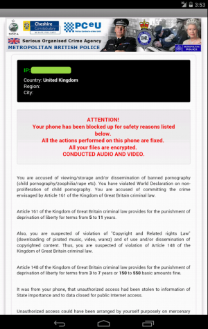 UK Android CryptoLocker Warning Screen